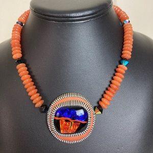 Vintage Beaded Boho Southwestern Pendant Necklace